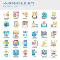 Set of Flat Color Advertising Elements