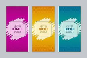 Colorful brushed banners with square frames