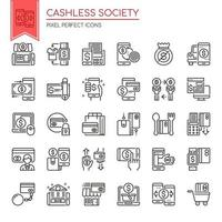 Set of Black and White Thin Line Cashless Society Icons