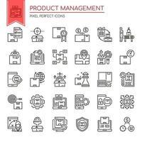 Conjunto de iconos de gestión de producto de línea delgada en blanco y negro