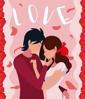 young couple in love poster with roses decoration