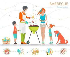 Family barbecuing on grill with set of different food items along bottom