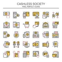 Set of Duotone Thin Line Cashless Society Icons