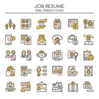 Set of Duotone Thin Line Job Resume Icons  vector