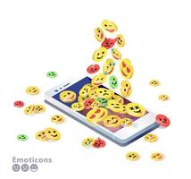Isometric mobile phone with emoticons piling on the screen