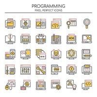 Set of Duotone Thin Line Programming Icons