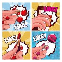 set of women's hand holding items in pop art style vector