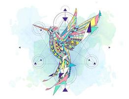 Patterned hummingbird surrounded by geometry symbols