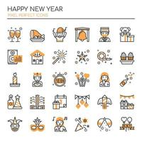 Set of Monochrome Thin Line Happy New Year Icons