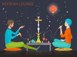 Young people  in hookah lounge vector