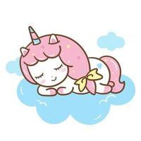 Unicorn cartoon sleeping on a cloud