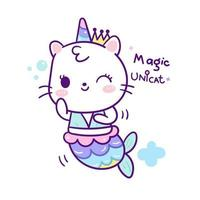 Cute unicorn cat mermaid