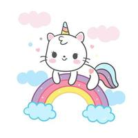Kawaii Cat cartoon su arcobaleno