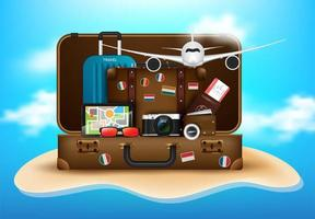 Traveler's desktop vacations concept
