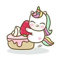 Cute Unicorn vector with sweet cake background