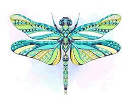 Colorful patterned dragonfly on grunge background