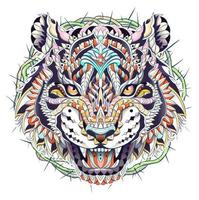 Patterned head of roaring tiger with circle of thorns