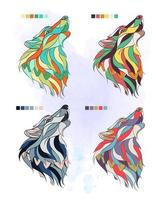 Set of patterned colorful wolf heads vector