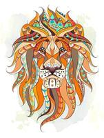 Patterned head of the lion over grunge watercolor background