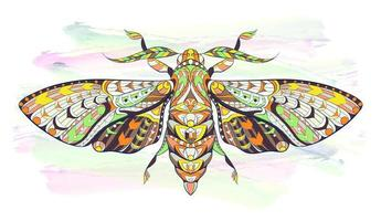 Patterned moth or butterfly on grunge background