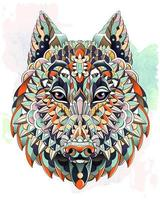 Patterned head of wolf or dog on grunge background