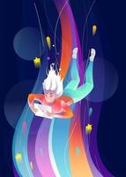 Woman falling down through colorful space with tablet