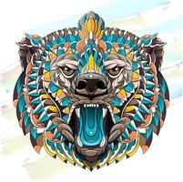Patterned head of roaring bear on brush stroke background