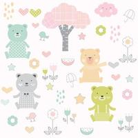 baby bears and flowers cartoon - seamless pattern