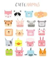 Cute baby animal with faces collection vector