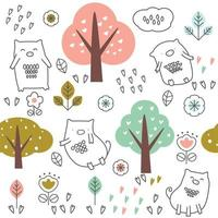cute baby pig and trees cartoon - seamless pattern