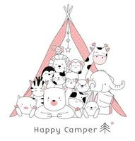 Cute baby animals camping vector
