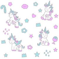 Baby unicorn cartoon - seamless pattern