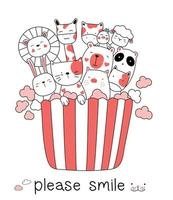 Cute baby animal and popcorn cartoon