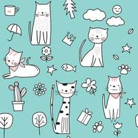 Green cute baby cat cartoon - seamless pattern