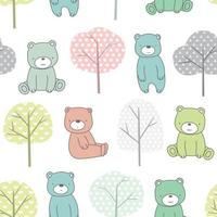 Trees and baby bear cartoon - seamless pattern