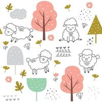 cute baby sheep cartoon - seamless pattern