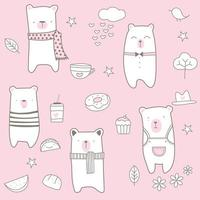 Pink cute baby bear cartoon - seamless pattern