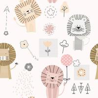 cute baby lion cartoon - seamless pattern