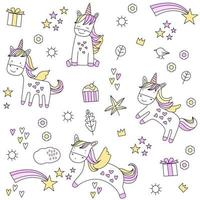 cute baby unicorn cartoon - seamless pattern