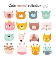Cute baby animal faces set