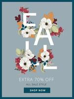 Fall Discount Poster with Autumn Leaf Elements