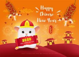 Happy Chinese New Year. The year of rat 2020. vector