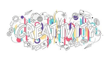 Conceito isométrico com letras de linha fina, ortografia a palavra criatividade