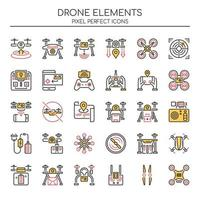 Set of Duotone Thin Line Drone Elements