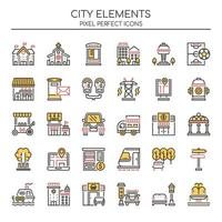 Set of Duotone Thin Line City Elements