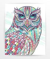 Colorful patterned owl on grunge background