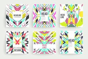 Set of square geometric abstract colorful flyers vector