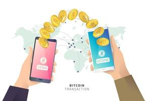 Two hands each holding a phone with bitcoins transferring between them