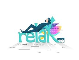 Business man resting on large letters spelling Relax vector