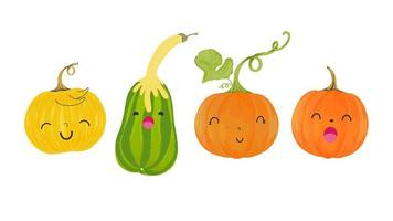 Autumn set of cute pumpkins